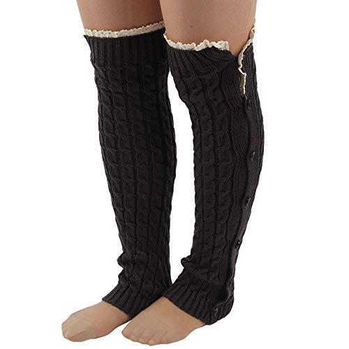 (Mitlfuny Damen Overknee StrüMpfe KniestrüMpfe Hold Up StrüMpfe Kniehohe Flach GedrüCkt Crochet Lace Trim Stulpen Stiefel Socken (Schwarz))