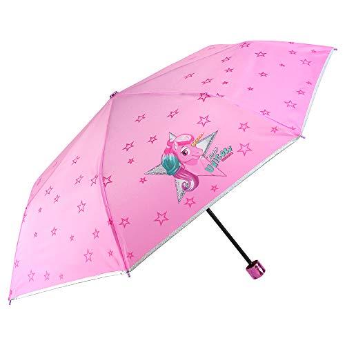 Einhorn Kinder Regenschirm Mädchen - Unicorn Taschenschirm Minischirm - Regenschirm Klein Windfest...