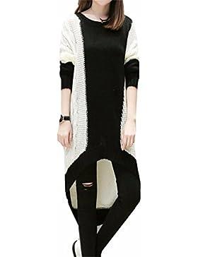 yall Señoras Suéter Suelto Collar Collar Térmico Tejer Largo Largo Vestido