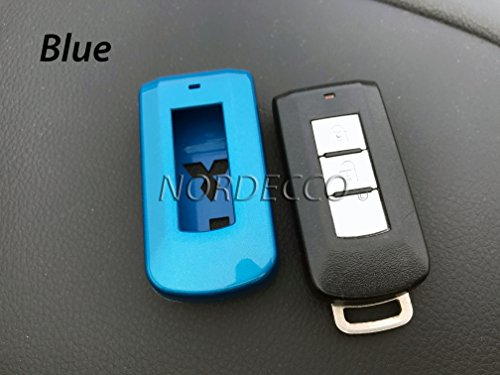 Kunststoffhülle für Autoschlüssel-Fernbedienung mit 2 oder 3 Tasten, Hochglanz-ABS, Hartplastik, glänzendes Blau (Mitsubishi Krieger)
