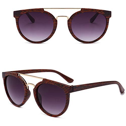 AOCCK Sonnenbrillen,Brillen, NEW Wood Grain Sunglasses Men Brand Designer Classic Metal Vintage Sun Glasses For Women Outdoor UV400 Oculos De Sol Double Gray Lens