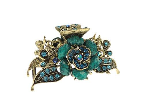 Haarspange für Damen, im Vintage-Stil, Goldfarben, Metall, 8cm, Rose, in 5 Farben erhältlich Gr. 8 cm , türkis