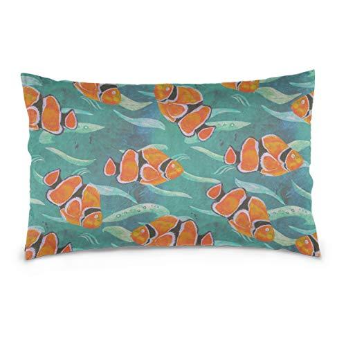 Reversible Luft (AGIRL Spaß Kissenbezug Clown Fish Springen und Drehen In der Luft 100% Baumwolle Reversible Zipper Standardgröße (20