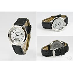 EUROCHRON Junghans-Clock Radio Radio Wristwatch with Stainless Leather SE's 9010-2140