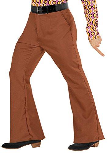 Karneval-Klamotten Hippie Hose Herren Kostüm braun Flower Power Hose Herren 70er 80er Jahre Schlaghose Karneval Herren-Kostüm Größe ()