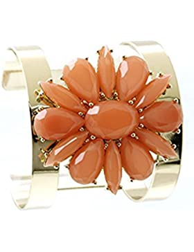 beyoutifulthings Damen Edelstahl vergoldet Armreif besetzt mit Acrylglas rot in Blumenform Durchmesser: 5,7cm