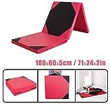 CCLIFE 180x60x5cm Klappbare Weichbodenmatte Turnmatte Fitnessmatte Gymnastikmatte rutschfeste Sportmatte Spielmatte, Farbe:Schwarz&Rot Hexagon 180x60x5cm