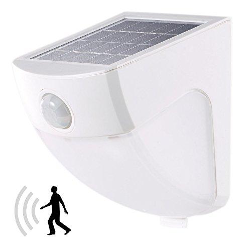 Lunartec LED Bewegungsleuchte: Solar-LED-Wandleuchte mit PIR-Sensor, 4 LEDs, 220 lm, 2 W, IP44, 5000K (Aussenlampe mit Bewegungsmelder)