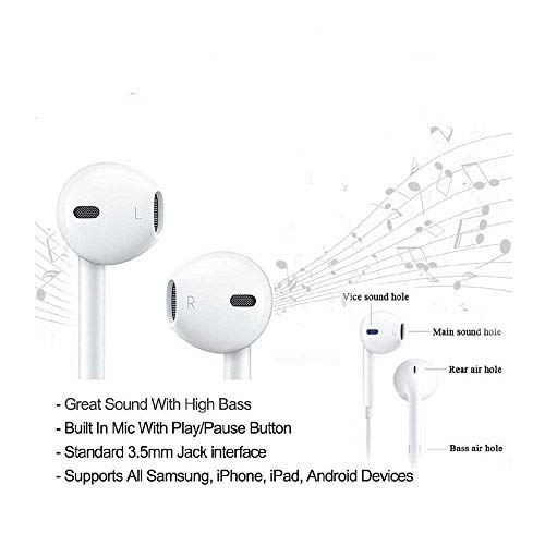 Hi-Fi Plus in-Ear Earphones Compatible for iPhone 4/4s/ 5/5s/ 6/6s/6plus and All Android Smartphones with 3.5 mm Jack and Mic Image 3