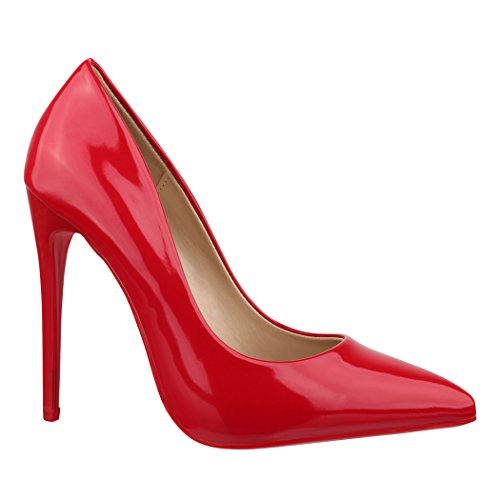 Elara Spitze Damen Pumps | Bequeme Lack Stilettos | Elegante High Heels B-1 Red-39