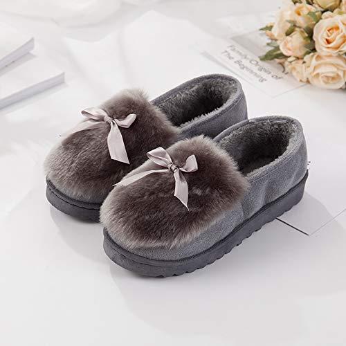 (WXMTXLM Herbst und Winter Baumwolle Hausschuhe Damen Tasche mit dicken Boden warm zu halten Innen- und Outdoor-Mond Schuhe Abschleppen Erbsen Schuhe, 40, Bogen grau)