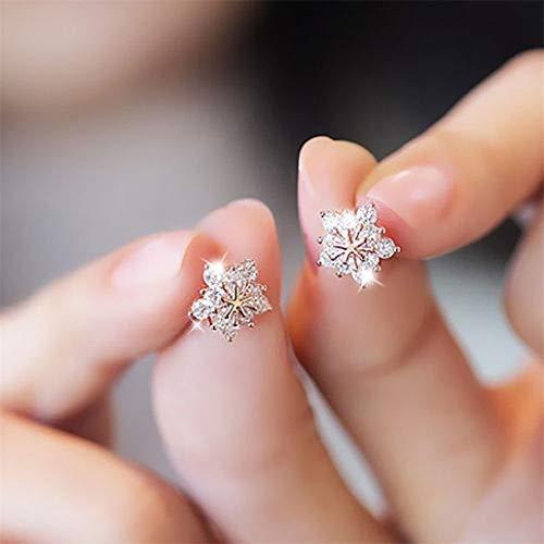 NYAOLE 1 Paar Frauen Mädchen Schneeflocke Ohrringe Cute Crystal Diamond Glitzernden Ohrstecker Geschenk für Frauen Mädchen Party Schmuck, Rose Gold