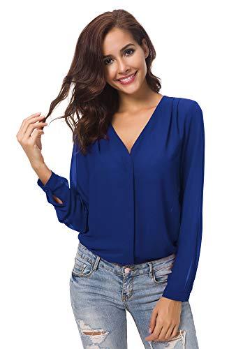 Urban goco donne camicette manica lunga pieghe chiffon con scollo v colore puro camicia blusa (xl, blu reale)