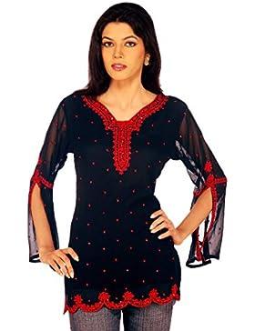 1545 Designs Mujer Pequeño Tamaño azul marino top de la blusa