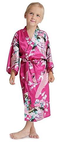Aibrou Enfant kimono peignoir satin Pour enfant brodé Fille chemise nuit éponge femme robe Paon Fleurs de chambre longue garçon grande taille Rouge Rose 8 ans