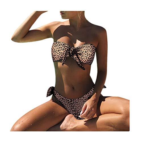 Damen Bikini Set FORH Frauen Sexy Gepolsterter Push Up BH Bademode Elegant Dot Drucken Tankini Badeanzug Reizvolle Summer Split Swimwear Freizeit Beachwear Strand Swimsuits Mit Bow-Knot (Braun, S)