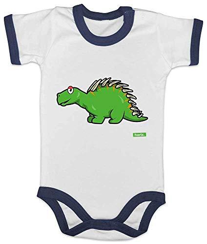 Neue Schwarze Ringer (HARIZ Baby Body Ringer Ankylosaurus 2 Dinosaurier T-Rex Tiere Inkl. Geschenk Karte Weiß/Navy Blau 6-12 Monate)