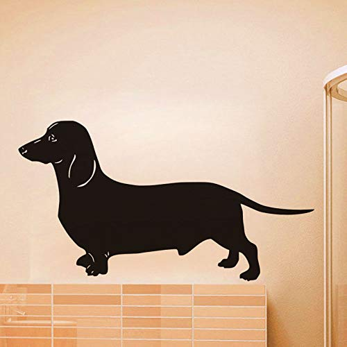 Geiqianjiumai Dackel lustiger Hund Wohnkultur abnehmbare Kunstwand perfekte Qualität Tier Silhouette Applikation schwarz 80x42cm -