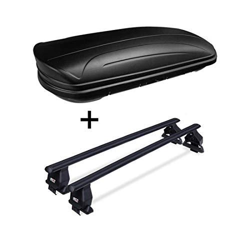 Dachbox VDPMAA320 abschließbar schwarz matt 320 Ltr + Dachträger Menabo Tema kompatibel mit Volkswagen kompatibel mit VW Golf VII GT GTD ab 2013 Stahl