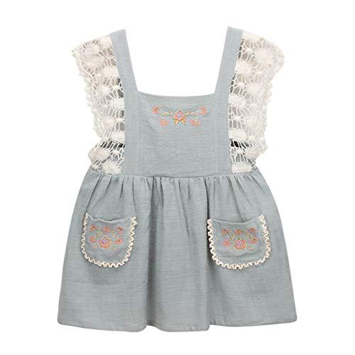 JUTOO Neugeborenes Kleinkind Kinder Baby Mädchen Kleidung Spitze Floral Party Pageant Princess Dress (Hellblau,90) (Princess Party Teller Und Tassen)