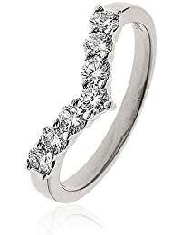 0.50CT Certified G/VS2 Round Brilliant Cut Claw Set Wishbone Half Eternity Diamond Ring in 18K White Gold