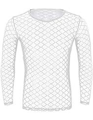 49247d8762bf8 CHICTRY Atractivo Hombre Camiseta de Malla Transparente Camisa Interior de  Manga Larga Ropa Interior para Hombres