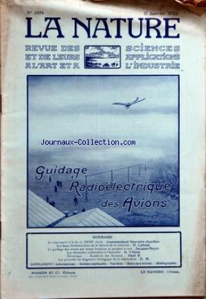 NATURE (LA) [No 2494] du 21/01/1922 - LE SOUS-MARIN A LA FIN DU 18EME PAR LE COMMANDANT SAUVAIRE-JOURDAN - LES BASES FONDAMENTALES DE LA THEORIE DE LA RELATIVITE PAR LAFOND - LE GUIDAGE DES AVIONS PAR TEMPS BRUMEUX ET PENDANT LA NUIT PAR J. BOYER - LES ALLUMETTES INALTERABLES A L'HUMIDITE PAR VILLERS - LA TUBERCULOSE par Collectif