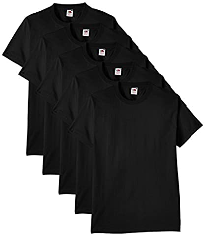 Fruit of the Loom Men's Heavy Cotton 5 Pack Regular Fit Round Collar Short Sleeve T-Shirt, Black, X-Large