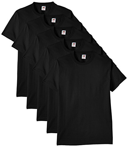 Fruit of the Loom Men's Heavy T-Shirt Pack of 5, Black, Medium