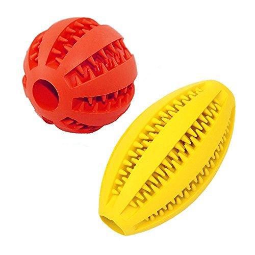 Hunde ball Und Rugby 2 Stück   Naturkautschuk Kauspielzeug   Minzgeschmack   Robust & Langlebig   ø 7cm mit Dental Zahnpflege Funktion   Geeignet Langlebiger Hundespielball für große & kleine Hunde
