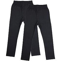 TupTam Mädchen Leggings Baumwolle Lange Kinderhosen 2er Pack, Farbe: Schwarz, Größe: 140