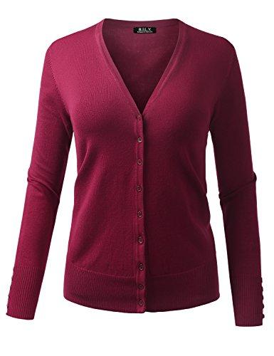 BH B.I.L.Y USA Damen Strickjacke mit V-Ausschnitt, langärmlig, weich - Violett - 1X -