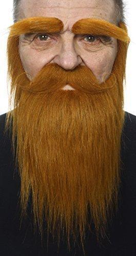 Ingwer Bart Kostüm - Mustaches Selbstklebende Neuheit Medieval King Fälscher Bart Fälscher Schnurrbart und Fälscher Augenbrauen für Erwachsene Ingwer Farbe