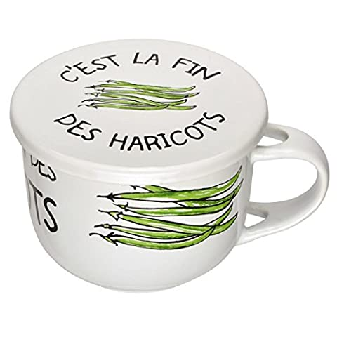 Tasse à soupe avec couvercle Soup set C'est la fin des haricots Blanc Porcelaine La chaise longue 35-2K-703