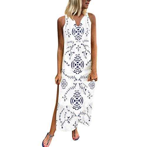 Damen Freizeitkleid Kaftan Kleid Luftiges Kleid Florydays Kleider Leinenkleid Tuchkleid Blusenkleid BöHmische Gedruckt äRmellose Maxi Kleid Split Saum Baggy Kaftan Langes Kleid Y-Weiß-5 S Print-mini-kleid Top