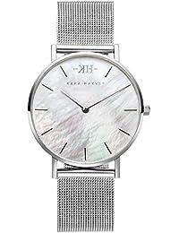 Kara Harvey Damen-Armbanduhr Silber Mesh in 36mm und 32mm Diverse Zifferblätter Analog Quarz (32 Millimeter, Silber Perlmutt)