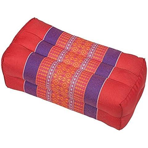 Handelsturm - Almohada en bloque, diseño tradicional tailandés, relleno de kapok, color rojo y verde (35 x 15 x 10 cm)