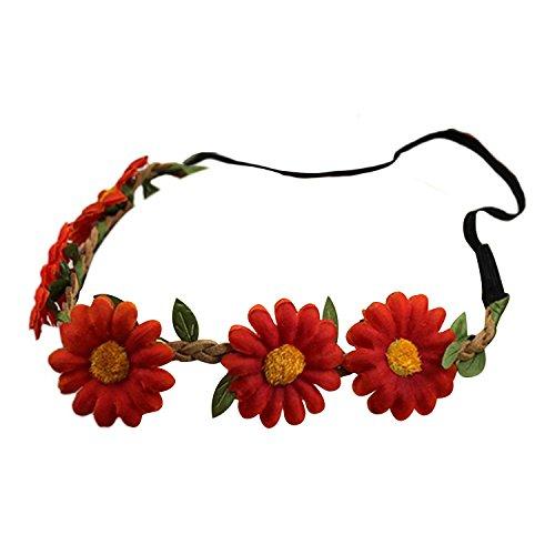 Bandeau-SODIAL(R) Femmes Style Boho Floral Fleur Bande de cheveux Bandeau pour Mariage Partie Festival (Rouge)