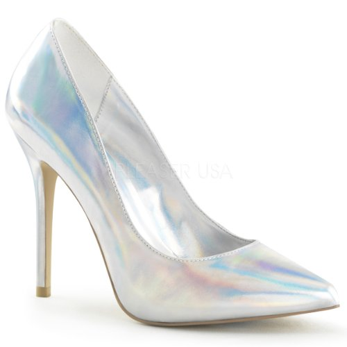 PleaserUSA High Heels Pumps Amuse-20 Silber Holo Silber holo