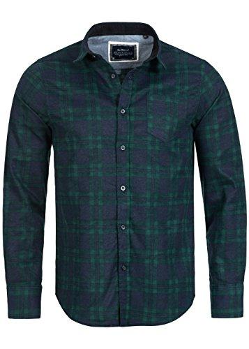 Brave Soul Herren check shirt, kariertes Baumwollhemd aus 100% Baumwolle, navy / green Navy Green