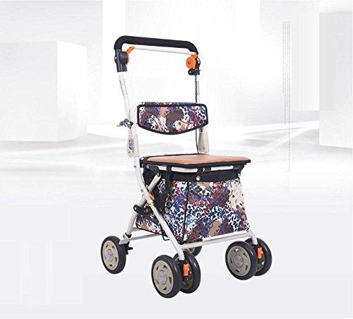 Chariot de chariot élévateur pour personnes âgées utilisé pour acheter des magasins de nourriture pour quatre roues motrices léger à quatre roues arrière avec siège rembourré , 002