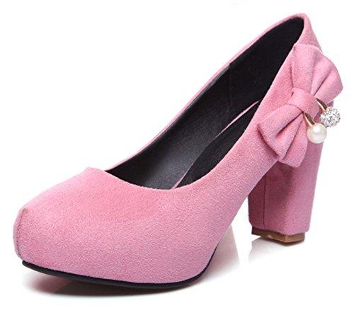 Aisun Damen Süß Nubukleder Schleife Strass Künstliche Perlen Blockabsatz Low Cut Pumps Pink