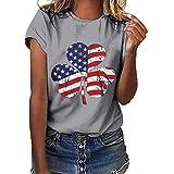 IZZB Damen Bluse Tanktops T-Shirt Weste Frauen Top Oberteil Sommer Hemd Plus Size Independence Day Print Kurzarm T-Shirt (Grau, M)