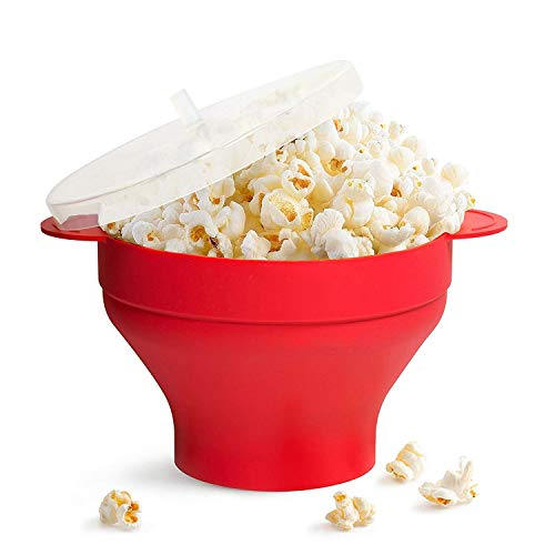 Gearmax Microwave Popcorn Popper Sturdy Convenient Handles, Silicone Popcorn Maker, Collapsible Bowl with Lid (Rouge)
