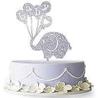 Firefairy - Decoración para Tarta con Diseño de Elefante, para Baby Shower, Fiesta de