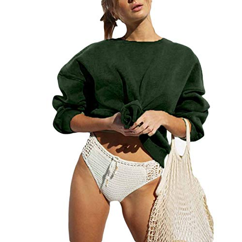 WTSGM solide Crewneck Sweatshirts Teen Mädchen Langarm O-Neck Pullover Hoodies Poly Crewneck Fleece Sweatshirt