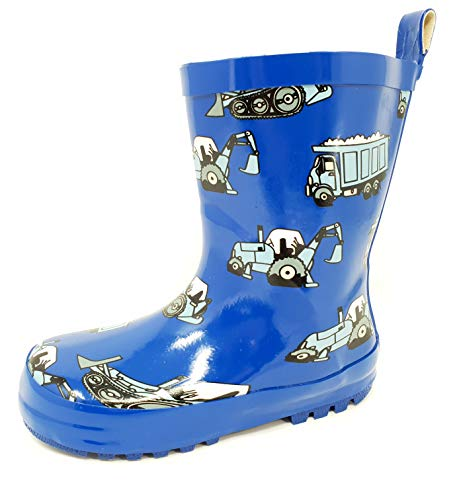 Boys Excavator Wellies/Rain Boots Mid Calf Snow Boots