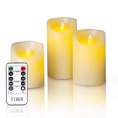 YIWER LED Velas sin Llama Φ 8CM x H 10cm/12CM/15CM Juego de 3 Pilas de Cera Real no de plástico 10 Teclas con 2/4/6/8 Horas Función del Temporizador 300+ Horas (3x1, Marfil)