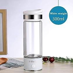 XXGJK 260/300Ml Générateur d'eau Riche en Hydrogène Tasse Ioniseur d'eau Fabricant D'électrolyse Antioxydants Alcalin Titane Bouteille D'hydrogène,White,Straight