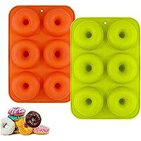 YIKEF Molde para Donut de Silicona, Juego de 2 Molde de Silicona para Hornear Donut, Antiadherente Molde de Silicona Apto para Lavavajillas, Horno, Microondas, Congelador
